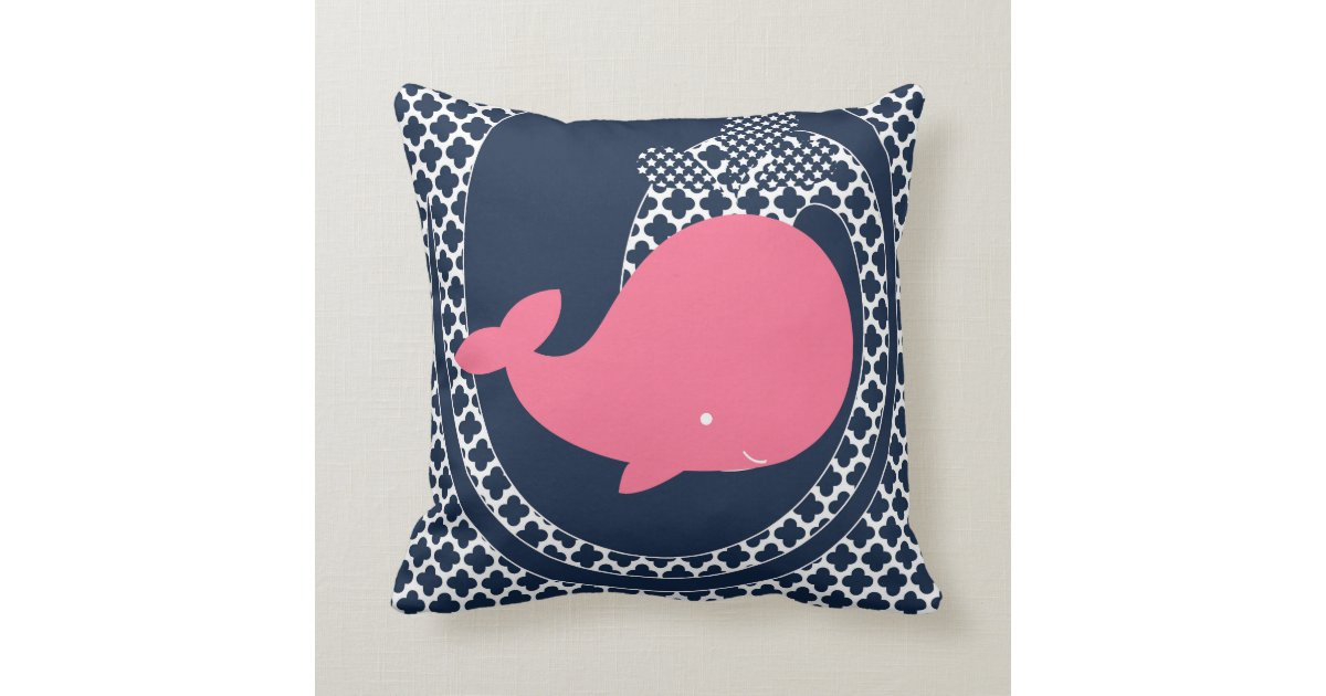 Navy And Pink Decorative Pillows: Pink Whale On Navy Blue Throw Pillow