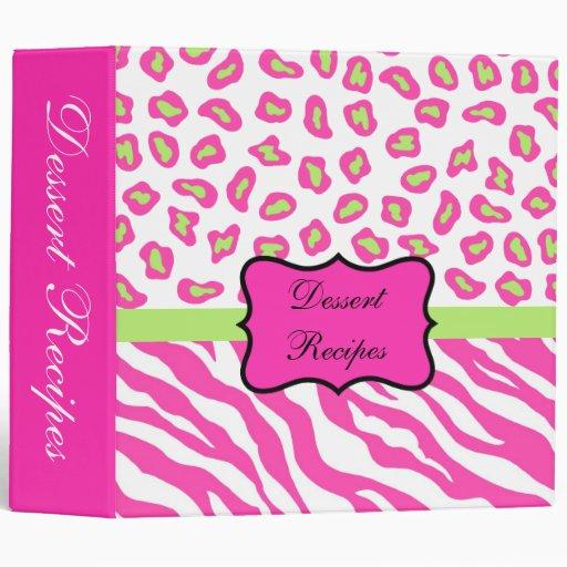 Pink & White Zebra & Cheeta Skin Album 3 Ring Binder