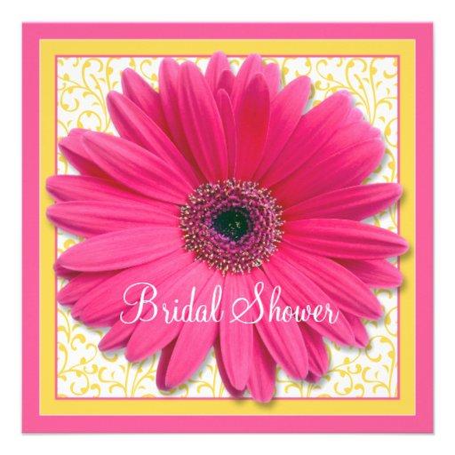 Pink Yellow Gerbera Daisy Bridal Shower Invitation 5.25