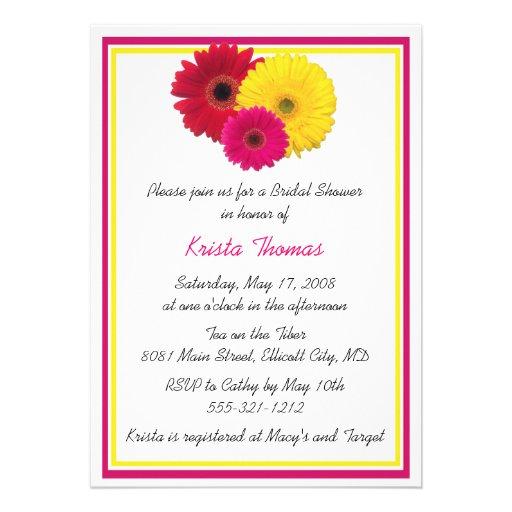 "Pink Yellow Red Gerbera Daisy Shower Invitations 5"" X 7"