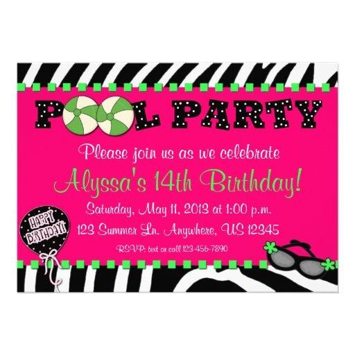"""Pink Zebra Pool Party Birthday Invitation 5"""" X 7"""