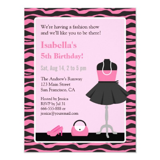 Pink Zebra Print Girls 1st Birthday Invitation: Pink Zebra Print Fashion Show Girls Birthday Party 4.25x5