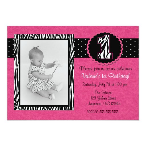 Pink Zebra Print Girls 1st Birthday Invitation