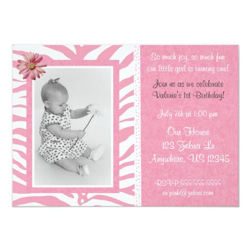 Pink Zebra Print Girls 1st Birthday Invitation: Pink Zebra Print Girls Birthday Invitation