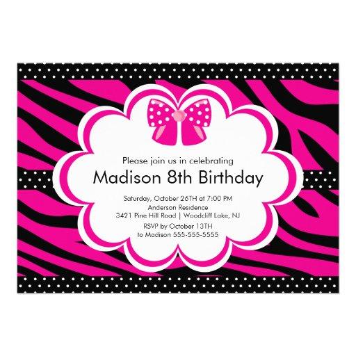 "Pink Zebra Tween Birthday Party Invitation 5"" X 7"