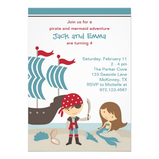 Personalized Mermaid Pirate Invitations