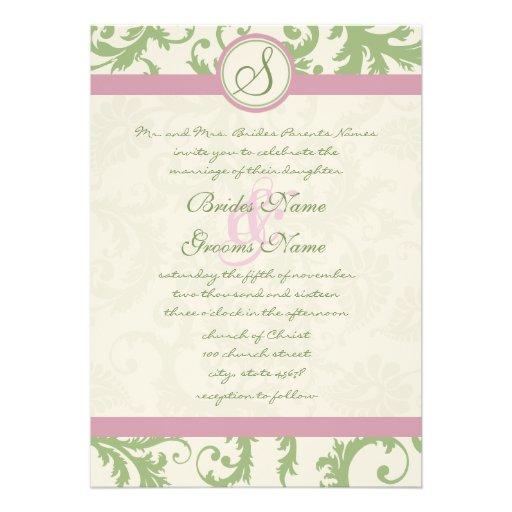 "Pistachio Clover Rose Petal Damask Wedding Invite 5"" X 7"