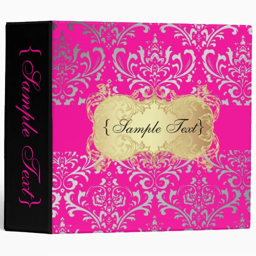 Pixdezines rossi damask faux silver diy pink binder zazzle for Diy wedding binder templates