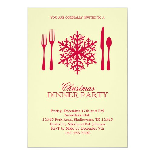Dinner Party Invitations: Place Setting Christmas Dinner Party Invitation