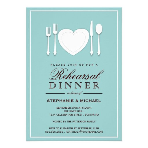 """Dinner Party Invitations: Place Setting Rehearsal Dinner Party Invitation 5"""" X 7"""
