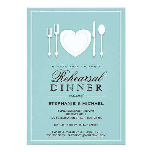 Dinner Party Invitations: Place Setting Rehearsal Dinner Party Invitation