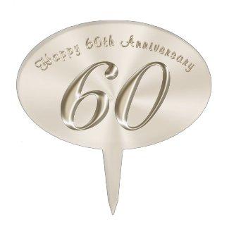 Platinum Color Happy 60th Anniversary Cake Topper