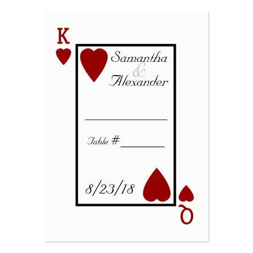 Playing Card King/Queen Table Place Cards Large Business Cards (Pack ...