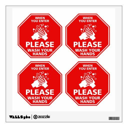 Please Wash Your Hands Door Decal Stop Sign Red Room Stickers Zazzle