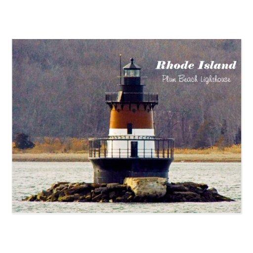 Plum Island Beach: Plum Beach Lighthouse Rhode Island Postcard