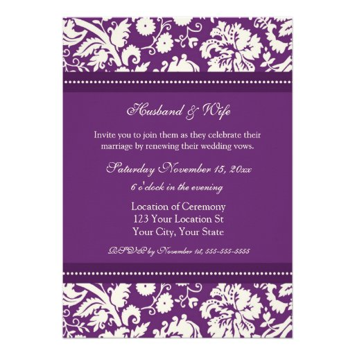 "Wedding Vow Renewal Invitations: Plum Damask Wedding Vow Renewal Invitations 5"" X 7"