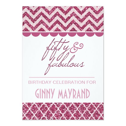 50 And Fabulous Text: Plum Glitter Fifty And Fabulous Birthday Invite