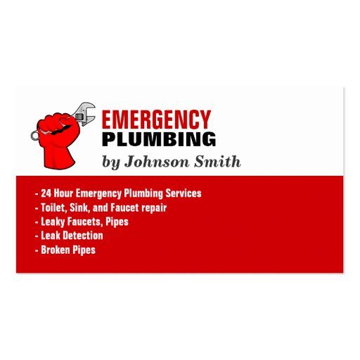 Emergency Plumbers Find A: Plumber Local Emergency Plumbing Services Business Card