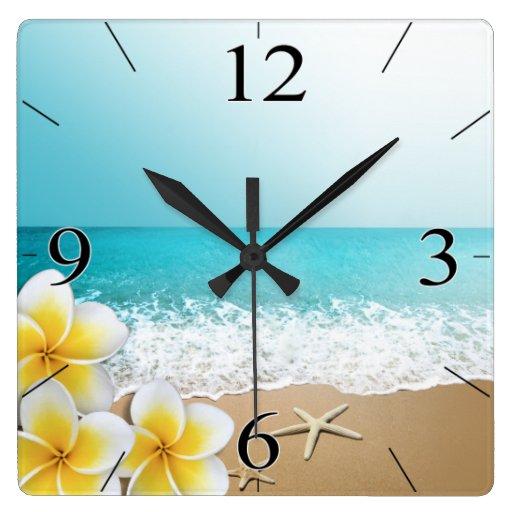 Plumeria Beach Tropical Island Square Wall Clock Zazzle