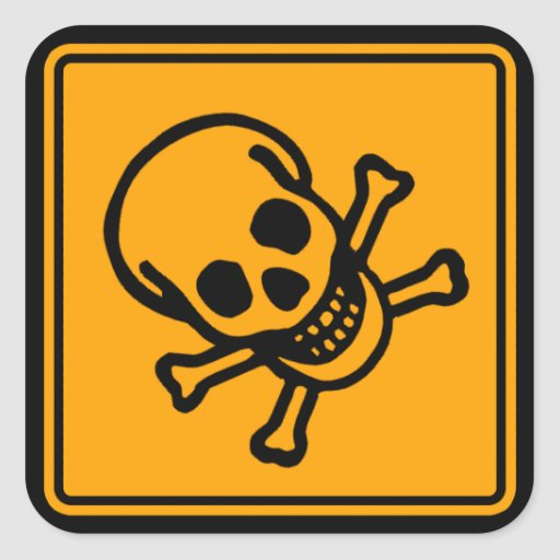 Poison Death Skull Yellow Diamond Warning Sign Square