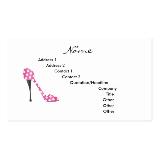 high heel template for cards - poky dot high heel business card templates zazzle