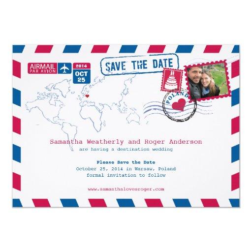 Poland Air Mail Wedding Save The Date Custom Announcements