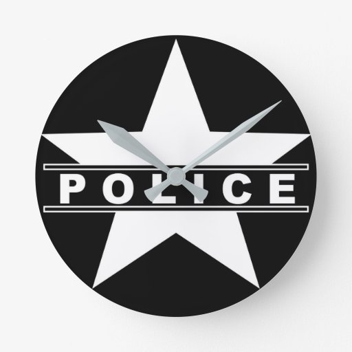 police star text department badge law symbol round clock ...