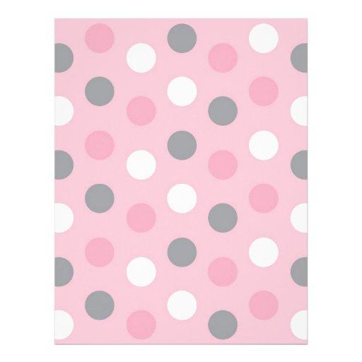 Polka Dot Pink Grey Baby Scrapbook Paper Letterhead Design ...