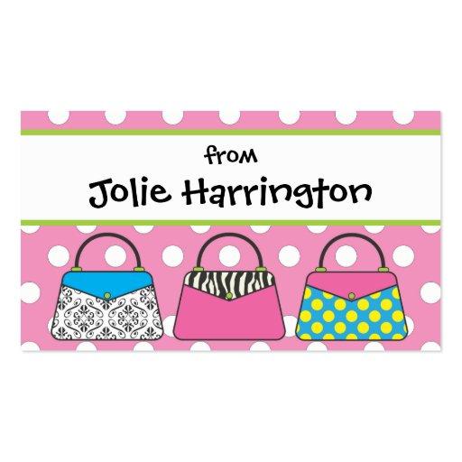 Polka Dot Purse Handbag Gift Card Calling Business Cards