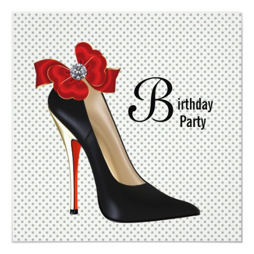 high heel template for cards - polka dot red black high heel shoe birthday party