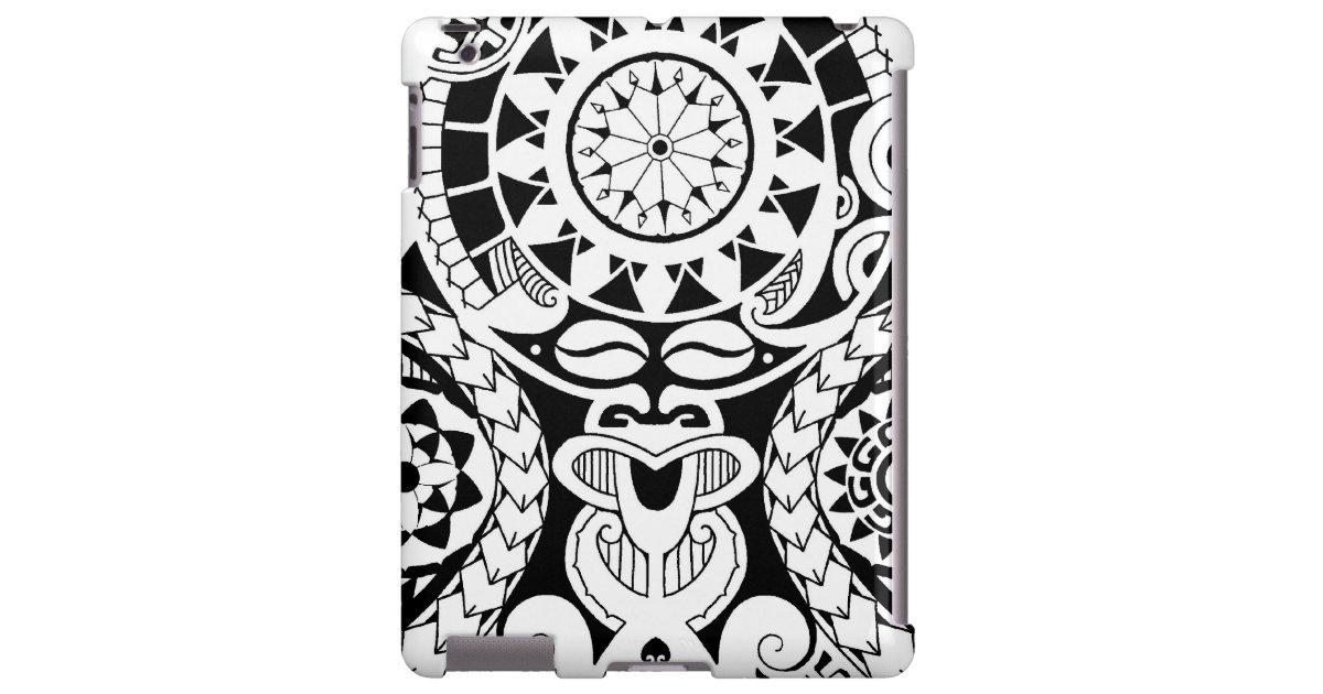 Polynesian Tiki Tattoo Designs: Polynesian Tattoo Design With Lizard And Tiki Mask