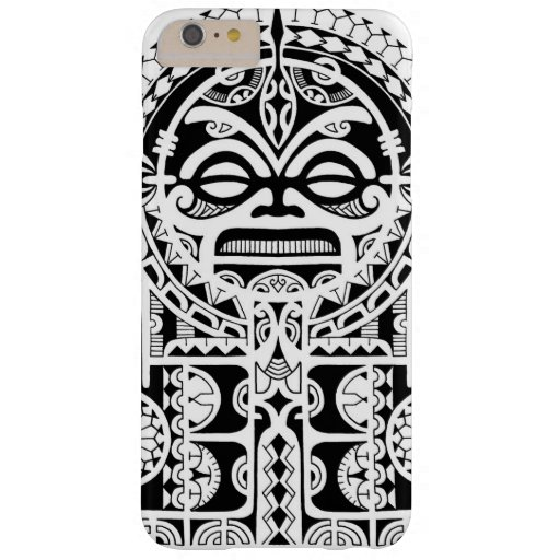 Polynesian Tiki Tattoo Designs: Polynesian Tribal Tattoo Design With Tiki Mask Barely