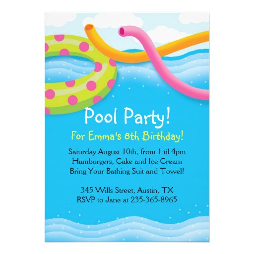"Pool Party Themed Invitations 5"" X 7"" Invitation Card | Zazzle"