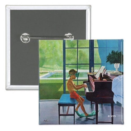 Poolside Piano Practice 2-inch Square Button