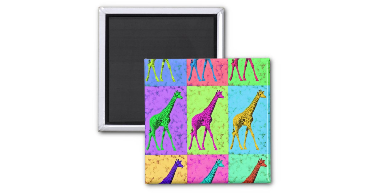 Pop Art Popart Walking Giraffe Multi-Color 2 Inch Square ...