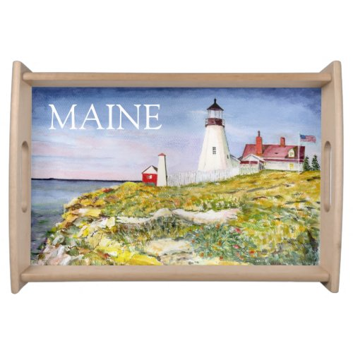 Portland Head Lighthouse Maine Watercolor Painting Serving Platters