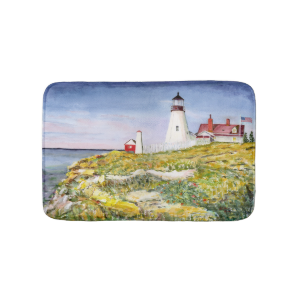 Portland Head Lighthouse Maine Watercolor Painting Bath Mats
