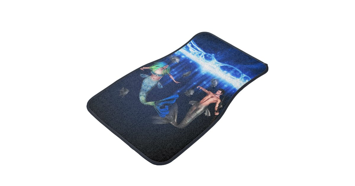 Poseidon And The Mermaid Car Floor Mat Zazzle