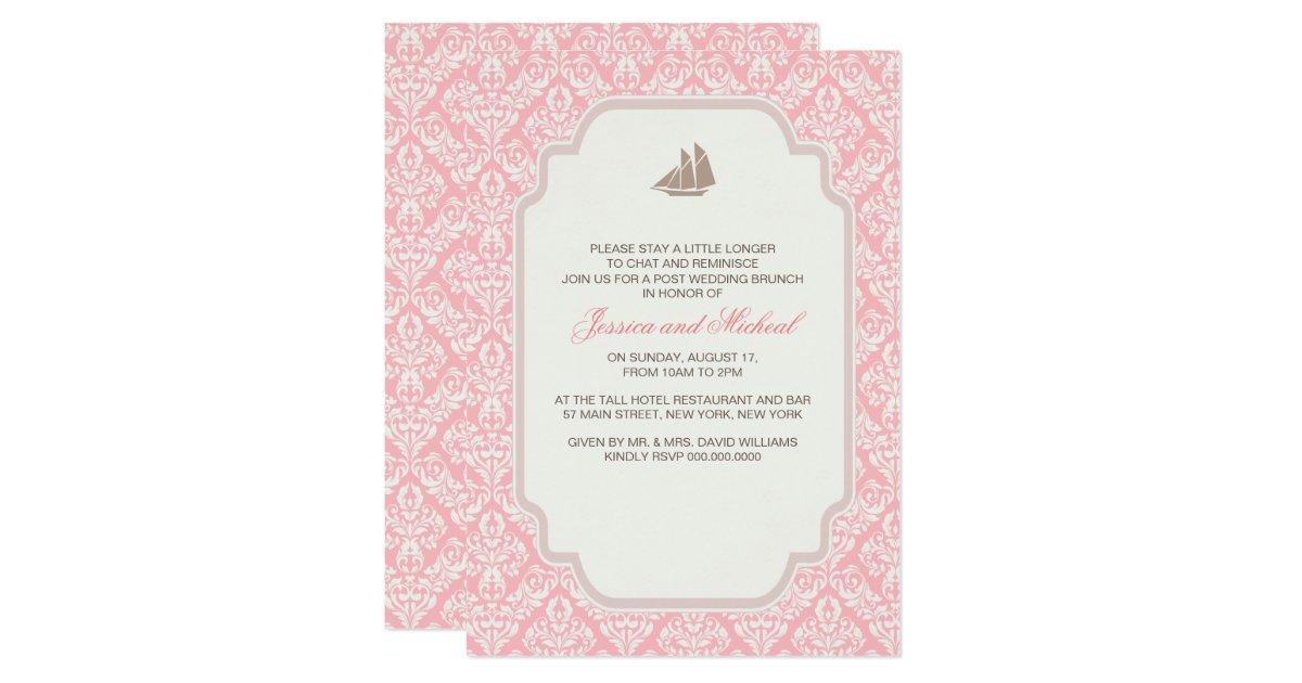 Post Wedding Brunch Invitation Wording: Post Wedding Brunch Invitations Pink Damask