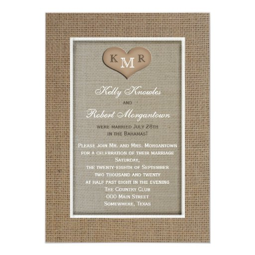 Wedding And Reception Invitations: Post Wedding Reception Invitation -- Burlap