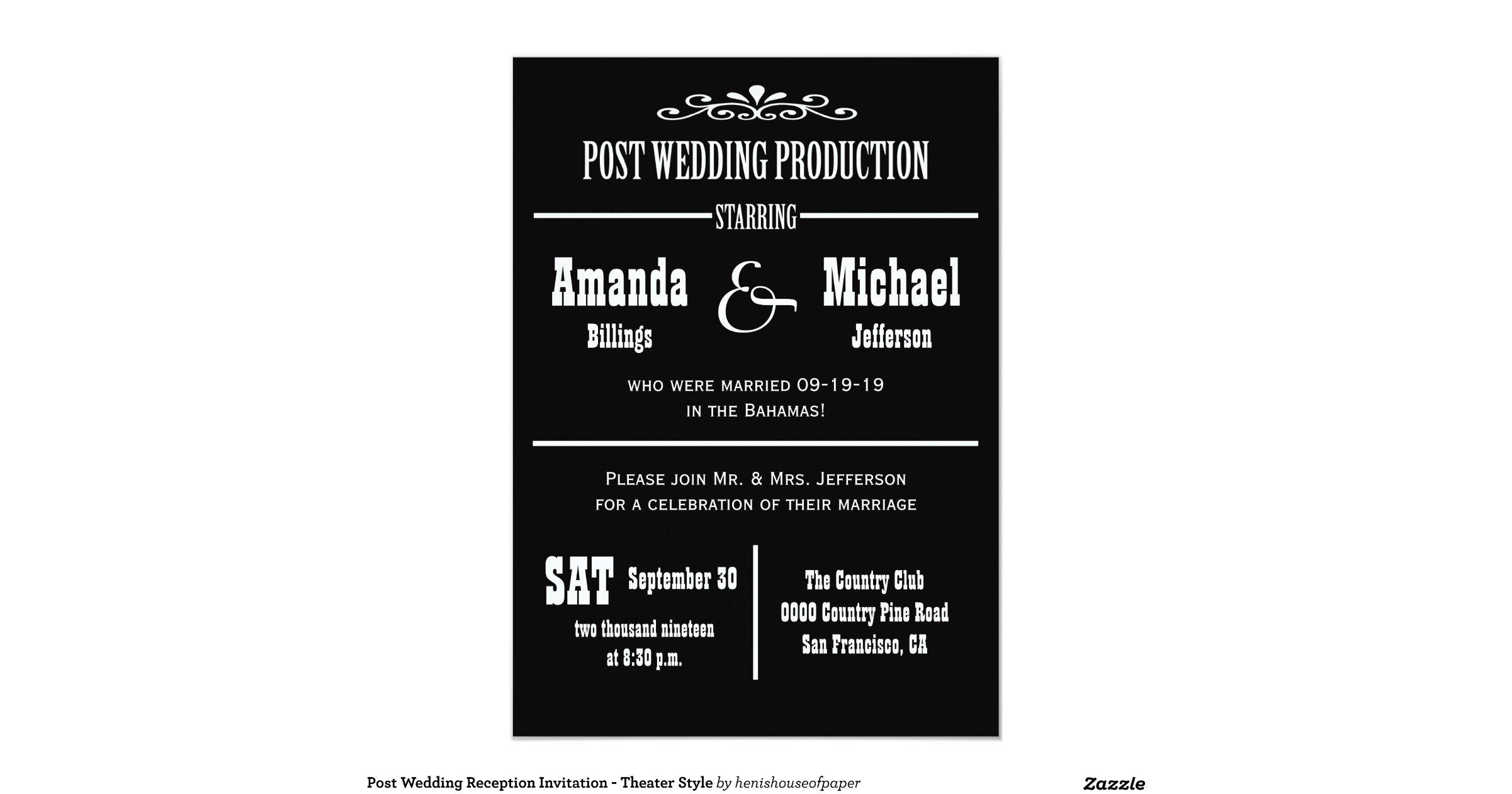 Post Wedding Invitations Reception: Post_wedding_reception_invitation_theater_style
