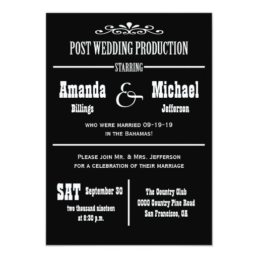 Post Wedding Party Invitation: Post Wedding Reception Invitation - Theater Style