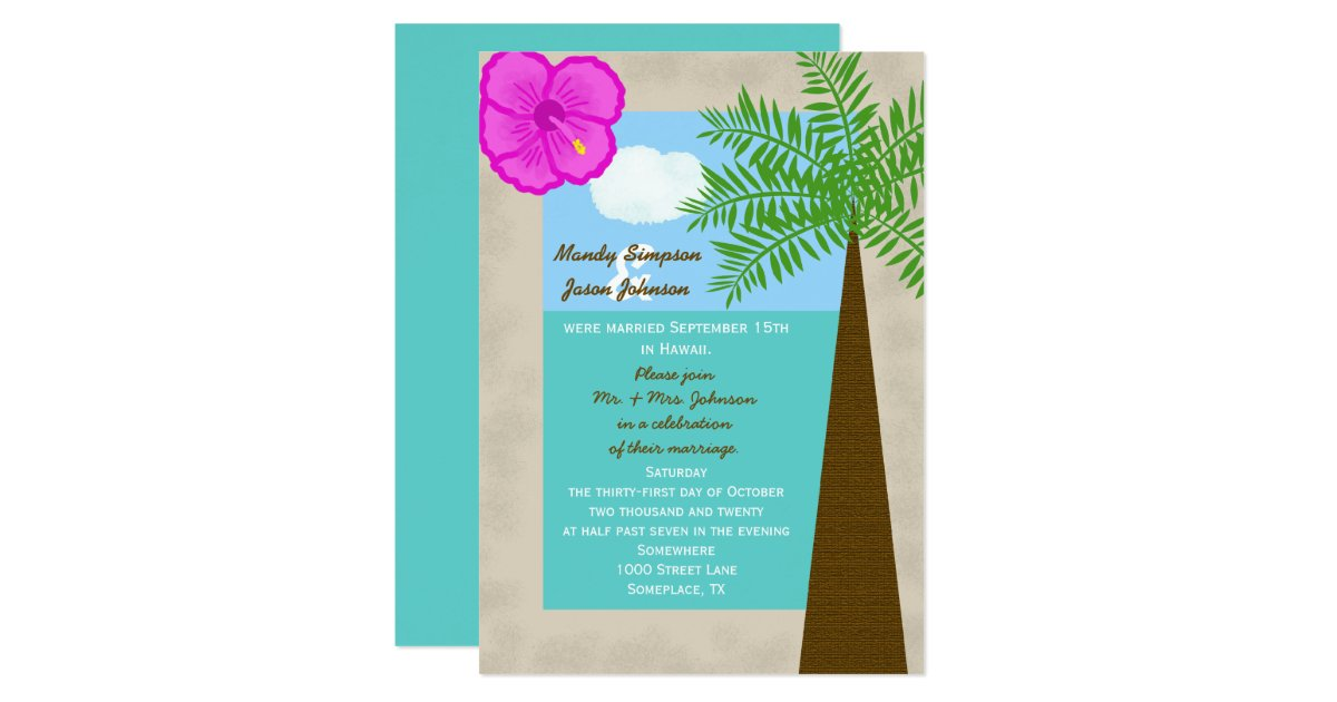Post Wedding Invitations Reception: Post Wedding Reception Invitation -- Tropical