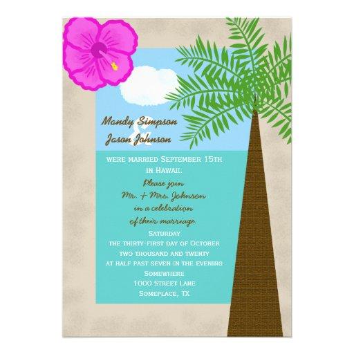 "Reception Invitation Wording After Destination Wedding: Post Wedding Reception Invitation -- Tropical 5"" X 7"