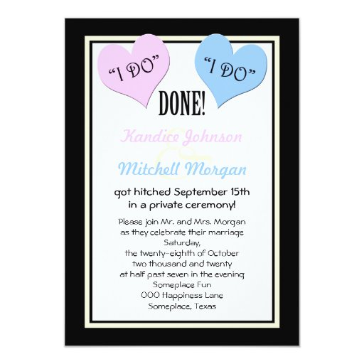"Invitation For Reception After The Wedding: Post Wedding Reception Invitations -- I Do 5"" X 7"