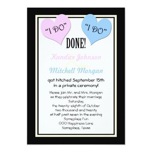 "Post Wedding Party Invitation Wording: Post Wedding Reception Invitations -- I Do 5"" X 7"