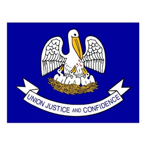 Postcard with Flag of Louisiana State - USA   Zazzle