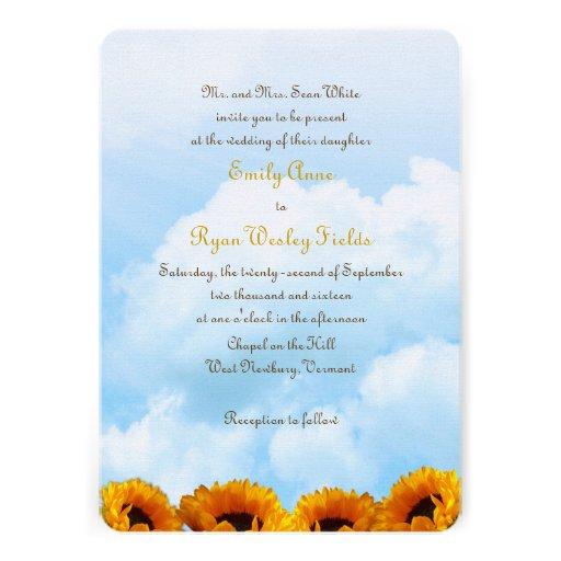 """Parents Wedding Invitation Wording: Prairie Sunflower Parents Inviting Wedding Invite 5"""" X 7"""