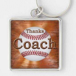 "Premium Baseball Keychains GRUNGE ""Thanks Coach"""