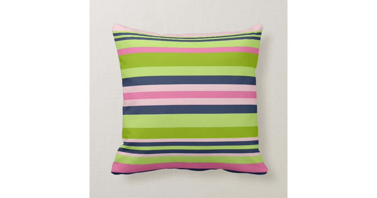 Navy And Pink Decorative Pillows: Preppy Lime, Pink And Navy Stripe Throw Pillow